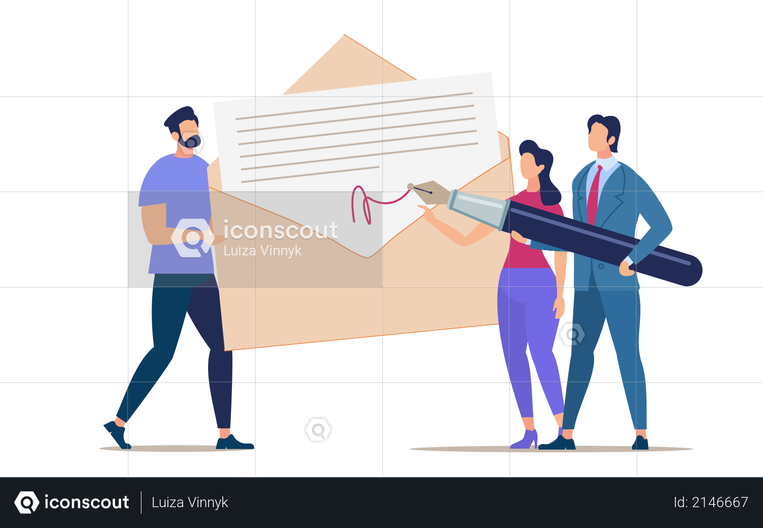 Signing and Mailing Document Illustration