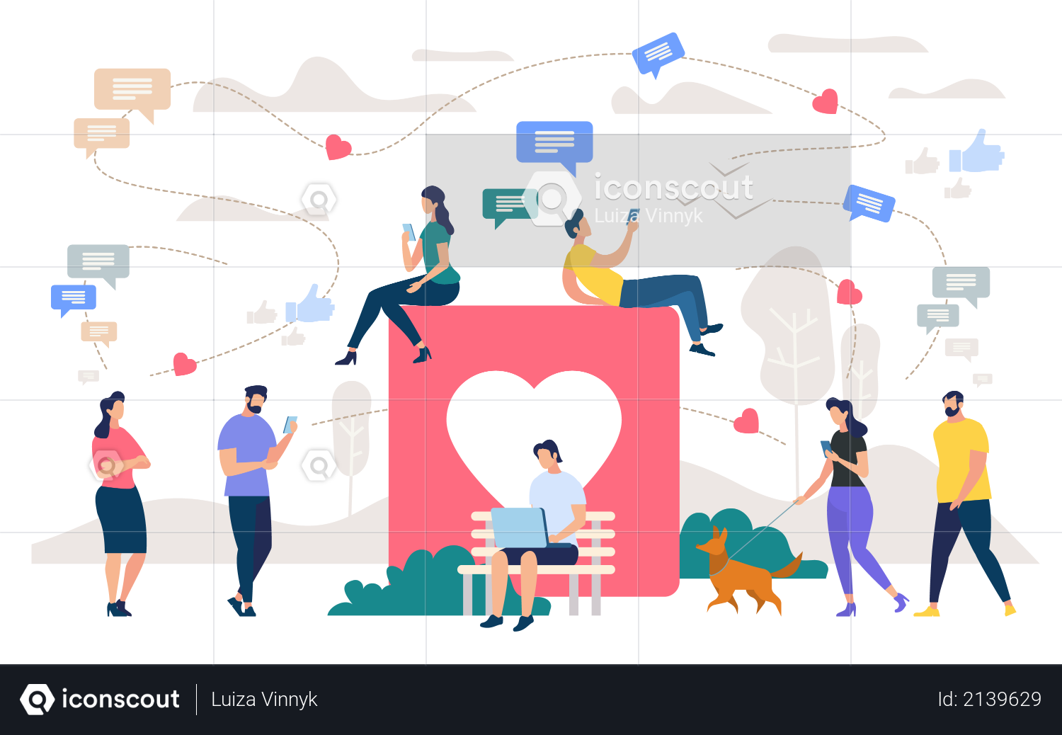 Social Network Community, Digital Marketing Illustration
