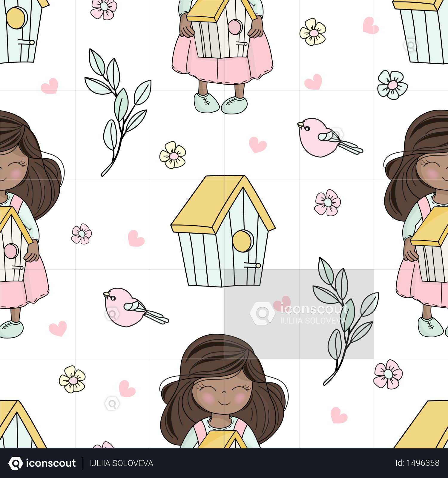 Premium SPRING WEATHER Bloom Seamless Pattern Illustration download in PNG  & Vector format