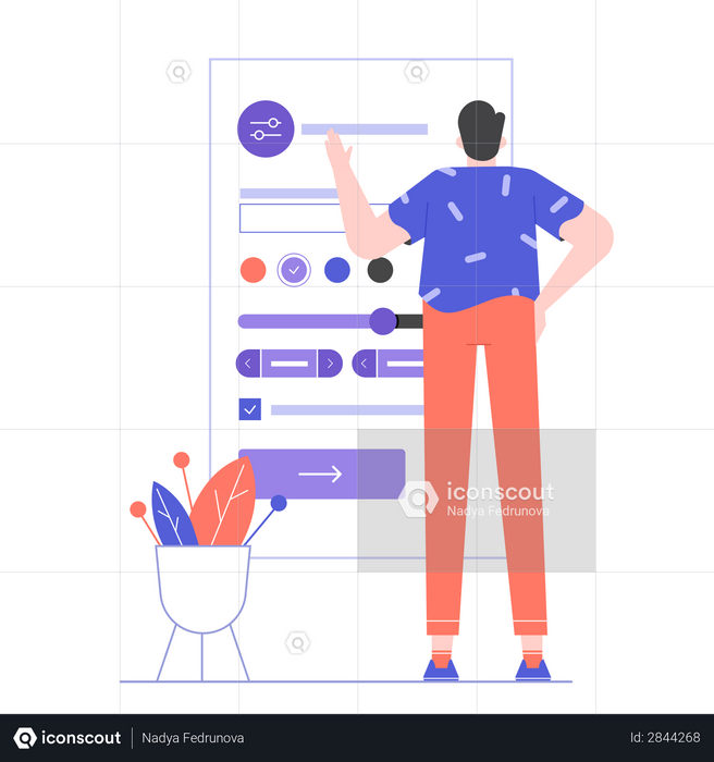 User settings and customization of the social network account Illustration