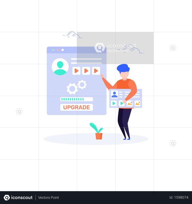 User upgrading his profile Illustration