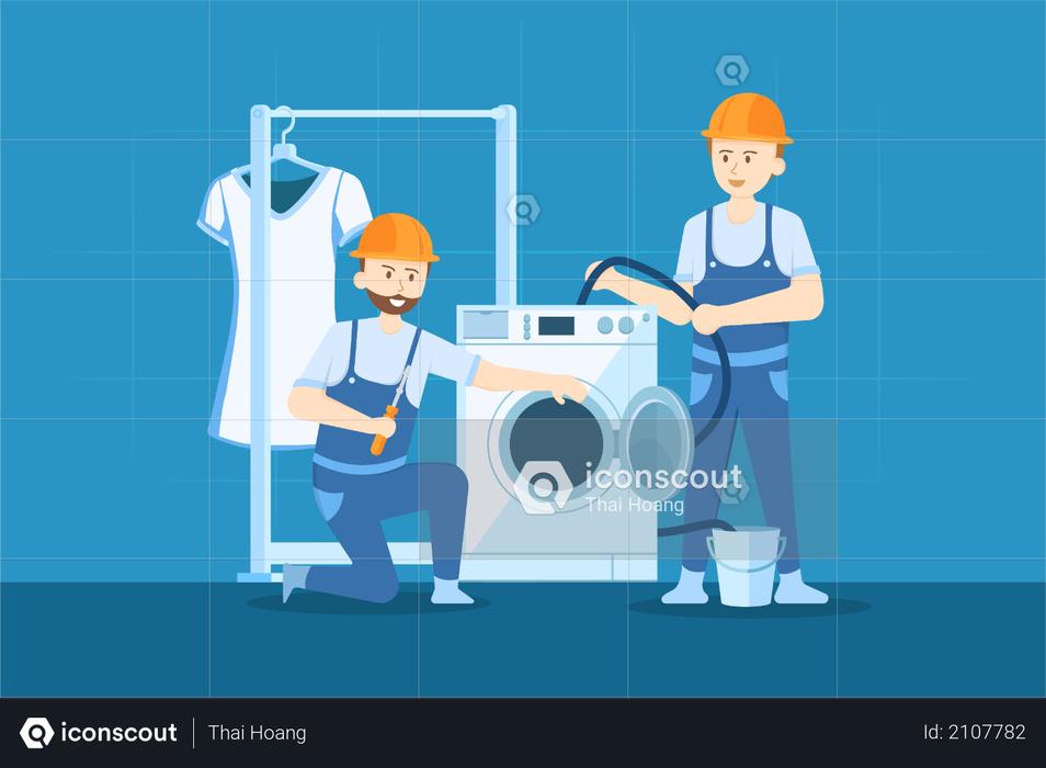 Washing machine Repairing Illustration