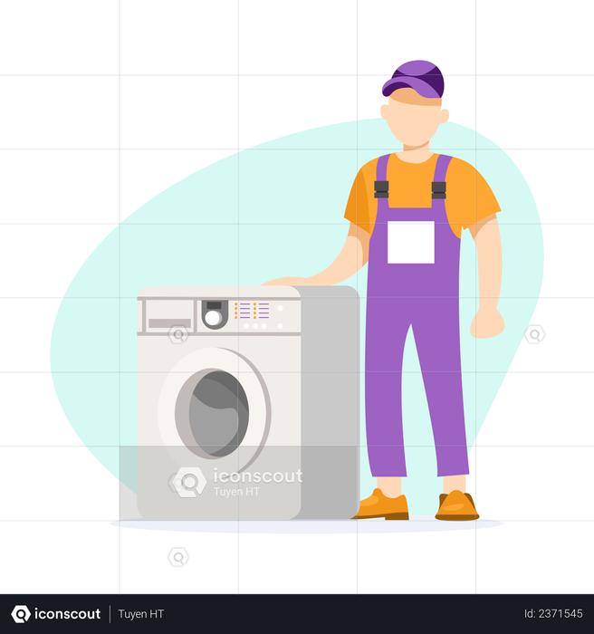 Washing machine repairman Illustration