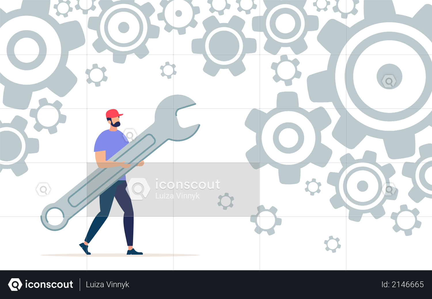 Working with Wrench Illustration