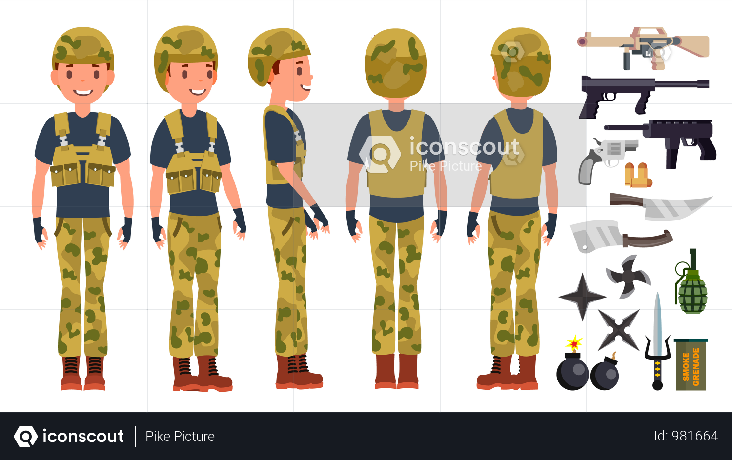 Premium Young Army Soldier Man With Different Pose Illustration download in  PNG & Vector format