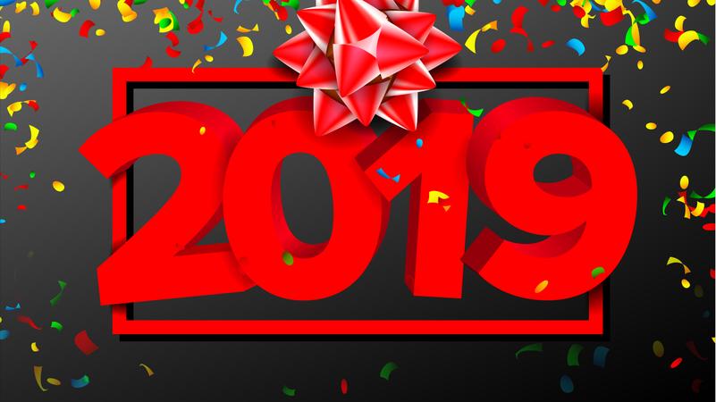 2019 3D Sign Vector Illustration