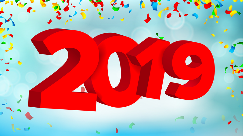 2019 3D Sign Vector. Numbers 2019 Sign. Modern Christmas Brochure. Seasonal Flyer. Holiday Happy New Year Celebration Banner, Card. Illustration Illustration
