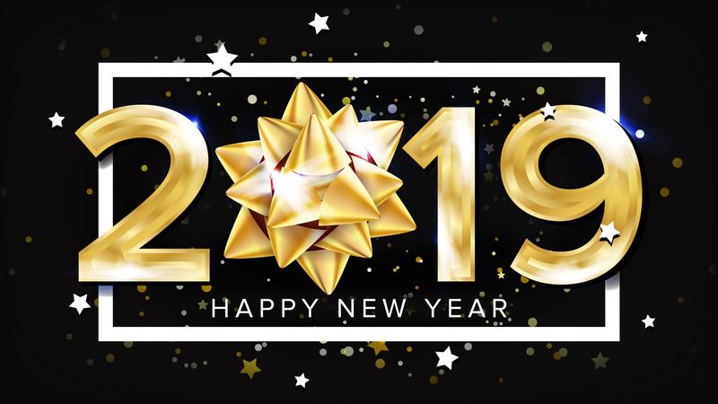 2019 Happy New Year Background Vector. Decoration Element. Beautiful Golden Gift Bow. Christmas. Illustration Illustration