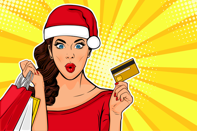 2019 New Year sales postcard or greeting card. WOW sexy young girl with bags and credit card. Vector illustration in pop art retro comic style Illustration