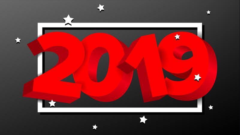 2019 Red Sign Vector Illustration