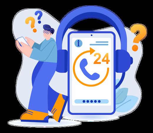 24 Hour Customer Support Service Illustration