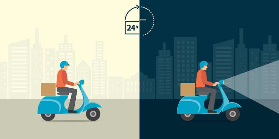 24 Hour Delivery Service Illustration