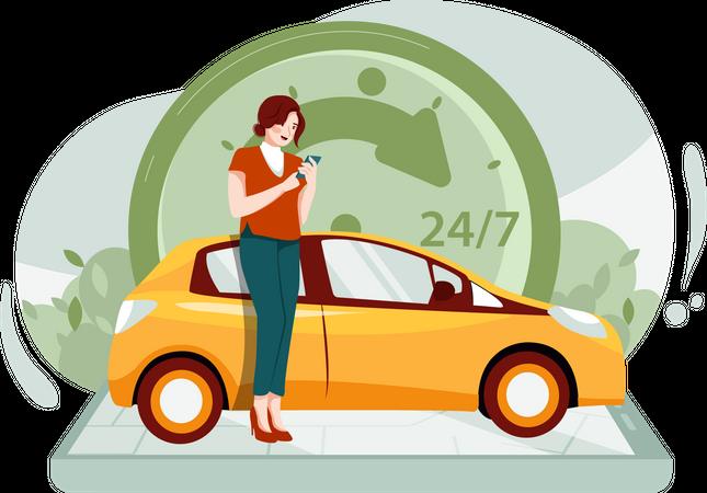 24 hours cab service Illustration