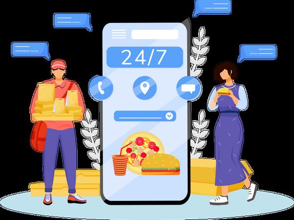 24 hours fast food delivery Illustration