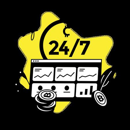 24/7 market live Illustration