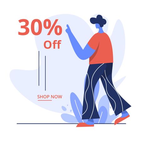 30% discount sale on online shopping Illustration