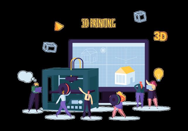 3D Printing Technology Illustration