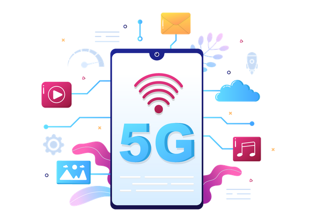 5G Technology Smartphone Illustration