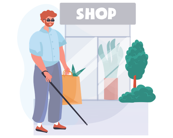A blind man near the grocery store Illustration