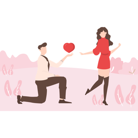 A boy purposing a girl by his heart Illustration