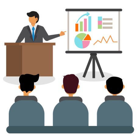 A businessman giving a presentation to the participants Illustration