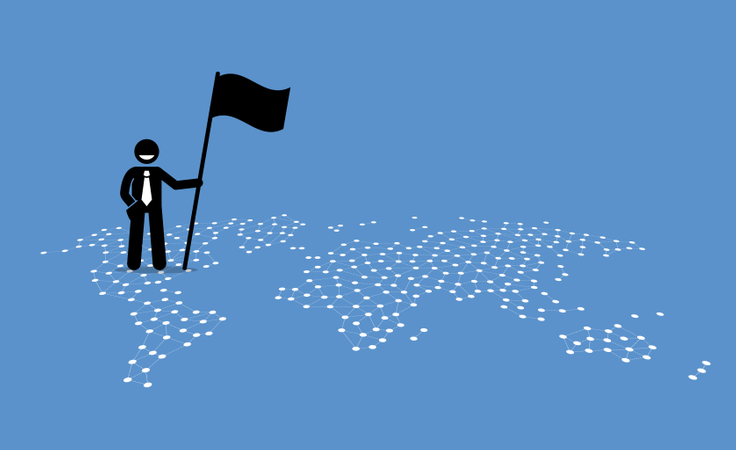 A businessman holding a flag and standing on top of United States of a world map Illustration