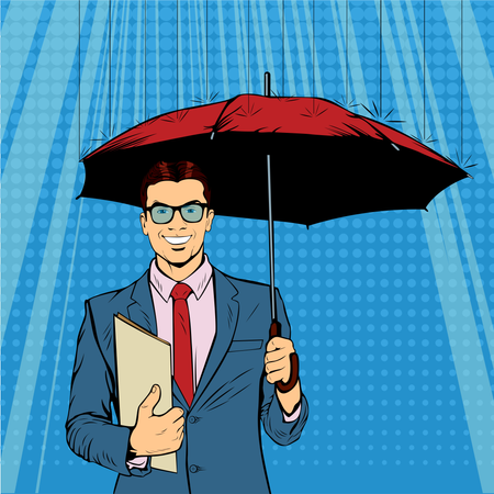 A businessman standing holding umbrella protecting his money to investments, money management. Saving money for any financial crisis will come.  A contemporary style. Pop art retro vector illustration Illustration