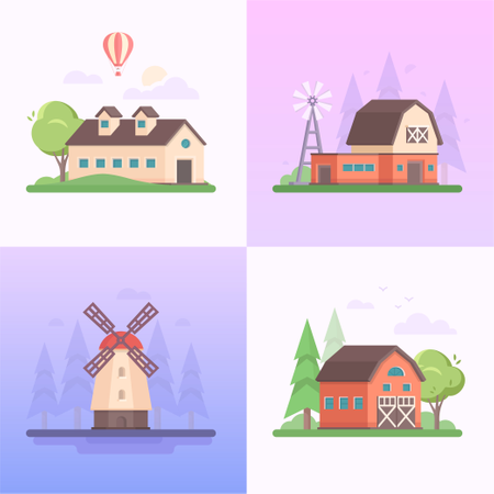 A Collection Of Four Images Of Small Houses, Windmills, Trees, Balloon, Clouds Illustration