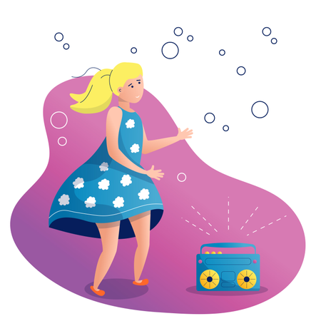 A girl in a beautiful dress is dancing Illustration