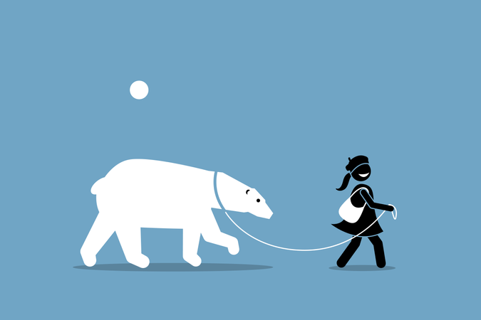 A girl leashing and walking with a polar bear Illustration