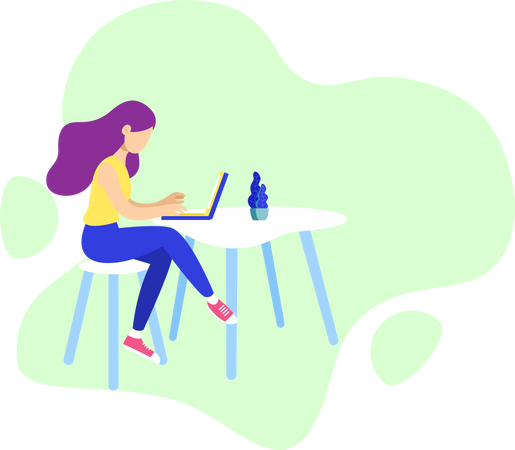 A girl working at home Illustration