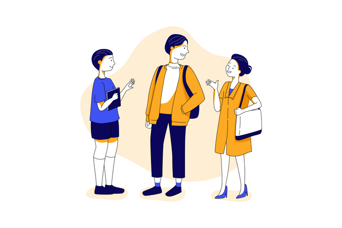 A group of student standing together and discussing after school Illustration