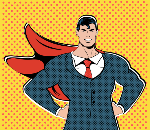 A grown man in a business suit Illustration