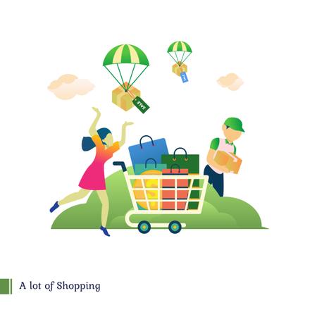 A lot of shopping, Big Shopping Illustration