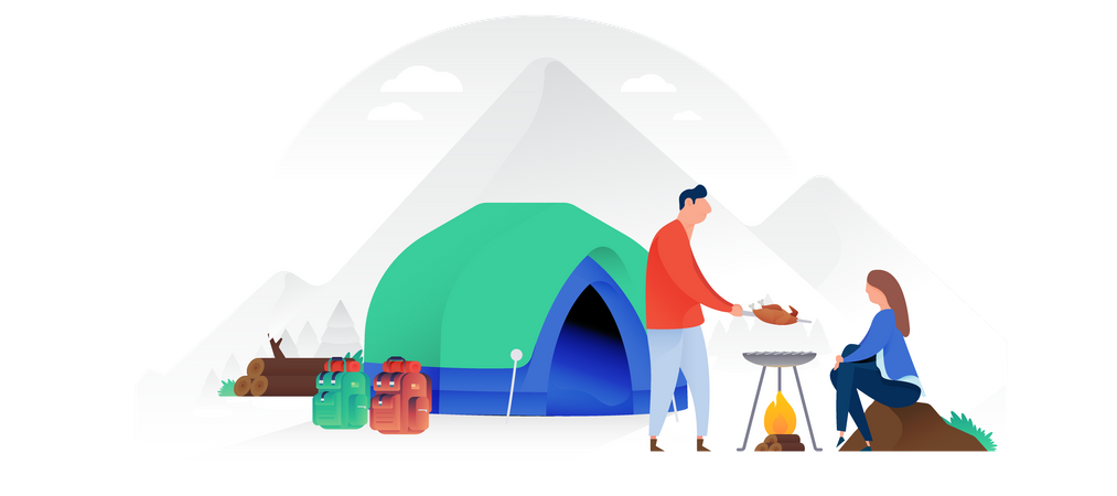 A Man And Woman Setting A Tent By Lake Illustration