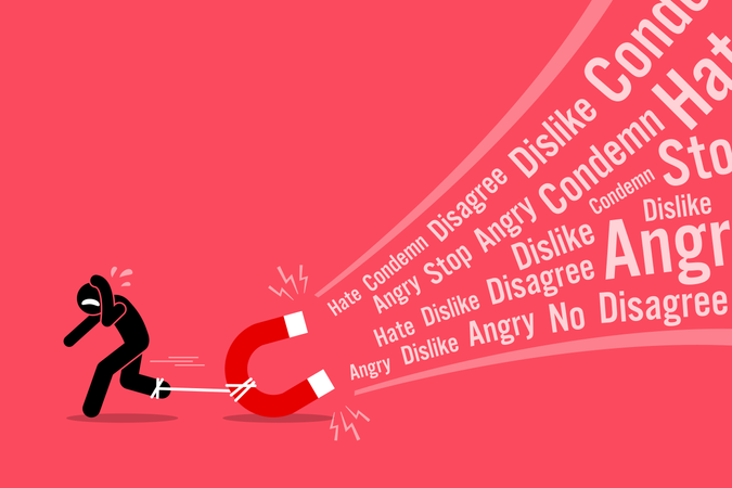 A man creating a lot of hates and dislikes on his social media Illustration