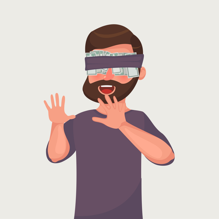 A man hides his eyes for the money Illustration
