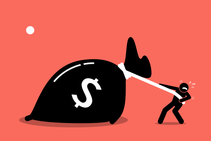 A man is struggling to pull a big bag of money because it is too heavy Illustration