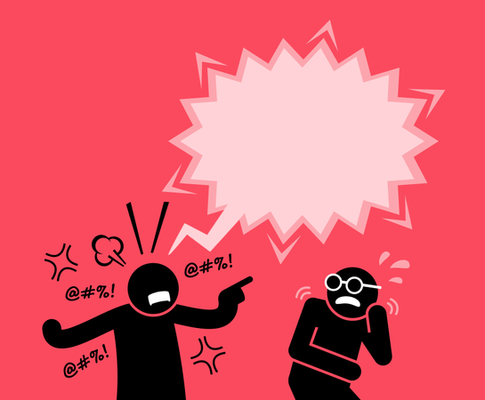 A man shouting and screaming at his friend Illustration