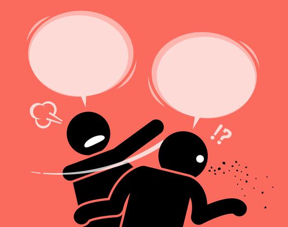 A man slaps his friend for talking nonsense Illustration