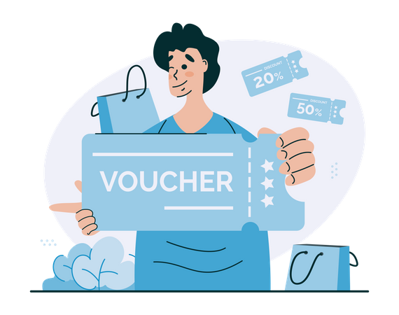 A man with shopping voucher Illustration