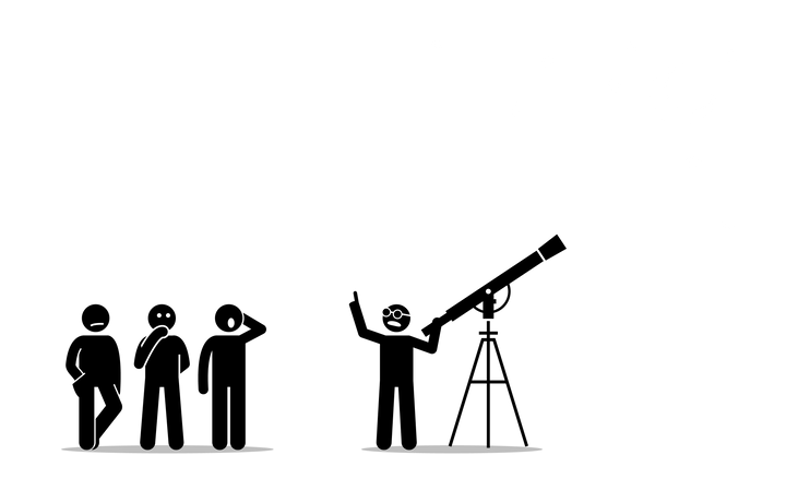 A physicist with a telescope Illustration