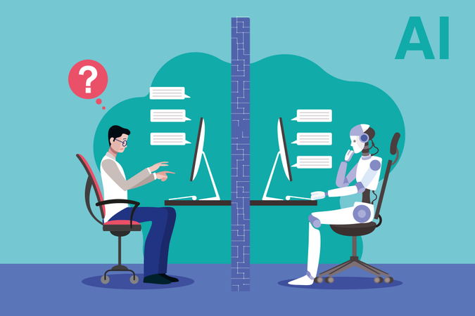 A robot and a scientist facing the Turing test Illustration