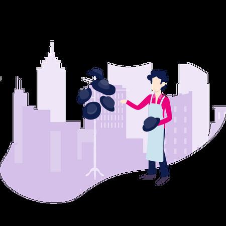 A salesman sales his caps Illustration