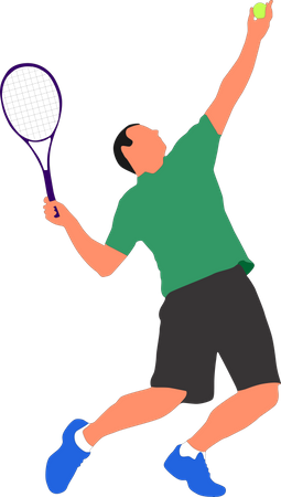 A sports man holding the tennis racket shot position Illustration