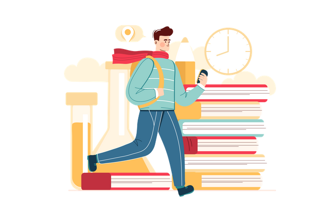 A student going to school Illustration