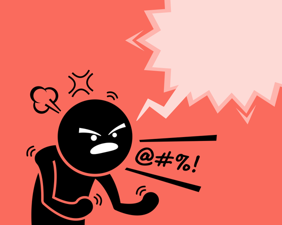 A very angry man expressing his anger, rage, and dissatisfaction by asking why Illustration
