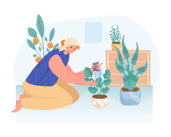 A woman planting a pot of flowers at home Illustration
