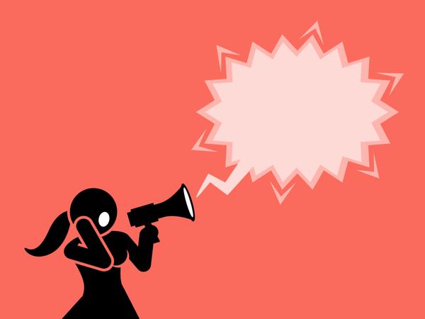 A woman shouting through a megaphone or loudspeaker Illustration