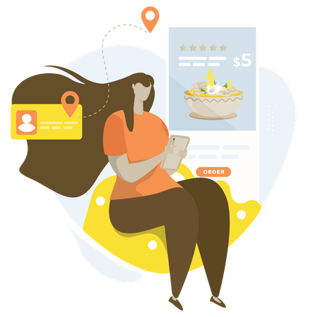 A woman with an online food ordering application Illustration